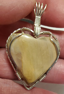 Custom Wire Wrapped Pink Hokie Stone Heart Necklace/Pendant Sterling Silver