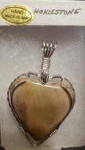 Load image into Gallery viewer, Custom Wire Wrapped Pink Hokie Stone Heart Necklace/Pendant Sterling Silver