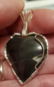 Custom Wire Wrapped Hokie Stone VA Tech Heart Necklace/Pendant Sterling Silver