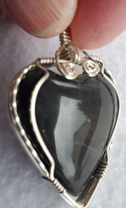 Custom Hokie Stone VA Tech Gray Quarry Heart Necklace/Pendant Sterling Silver