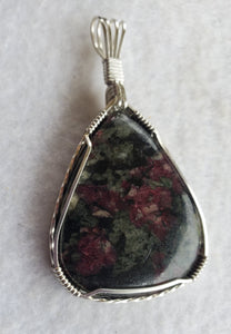 Custom Wire Wrapped Eudialyte Necklace/Pendant in Sterling Silver