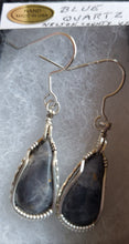 Load image into Gallery viewer, Custom Wire Wrapped Blue Quartz Earrings Sterling Silver