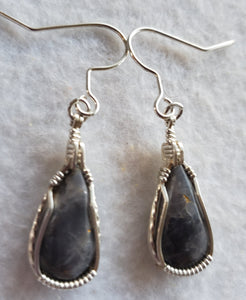 Custom Wire Wrapped Blue Quartz Earrings Sterling Silver