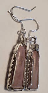 Custom Hokie Stone Pink Quarry Unpolished VA Tech Earrings Sterling Silver