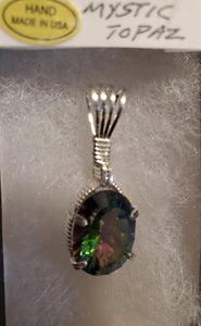 Custom Mystic Topaz Wire Wrapped Necklace/Pendant Sterling Silver
