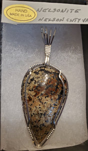 Custom Wire Wrapped Nelsonite Virginia State Stone Necklace/pendant