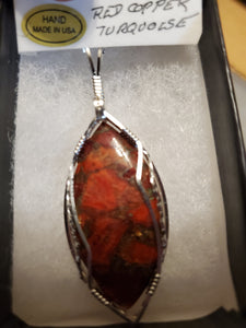 Custom Red Copper Turquoise Sterling Silver Necklace/Pendant
