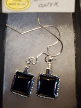 Load image into Gallery viewer, Custom Wire Wrapped Black Onyx Sterling Silver Earrings