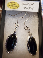 Load image into Gallery viewer, Custom Black Onyx Sterling Silver Wire Wrapped Earrings