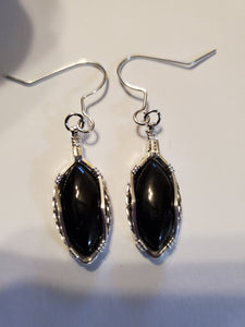 Custom Black Onyx Sterling Silver Wire Wrapped Earrings