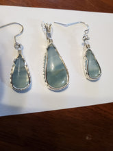 Load image into Gallery viewer, Custom Wire Wrapped Argentinean Blue Onyx Set: Earrings, Necklace/Pendant