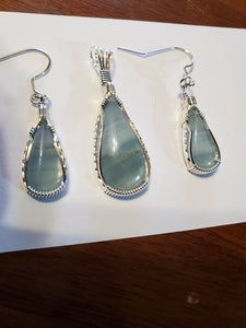 Custom Wire Wrapped Argentinean Blue Onyx Set: Earrings, Necklace/Pendant