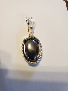 Custom Wire Wrapped Hematite Necklace/Pendant Sterling Silver