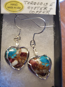 Custom Wire Wrapped Turquoise Oyster & Copper Heart Sterling Silver Earrings