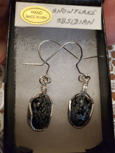 Load image into Gallery viewer, Custom Wire Wrapped Snowflake Obsidian Earrings Sterling Silver