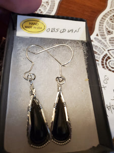 Custom Wire Wrapped Obsidian Earrings Sterling Silver