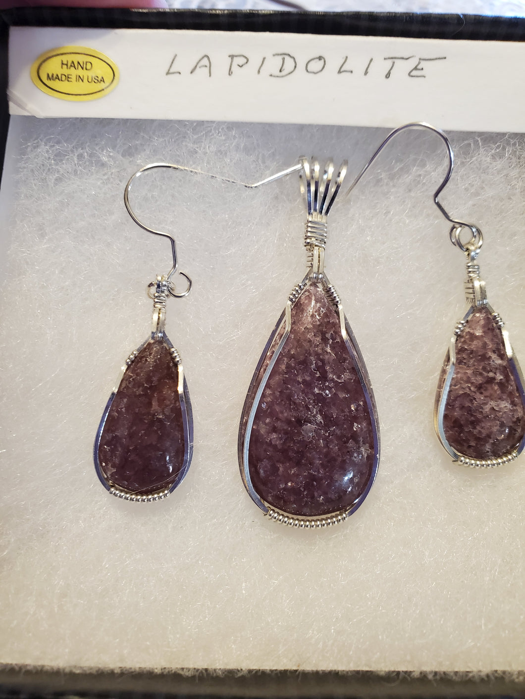 Custom wire wrapped Lapidolite Set Earrings, Necklace/Pendant Sterling Silver