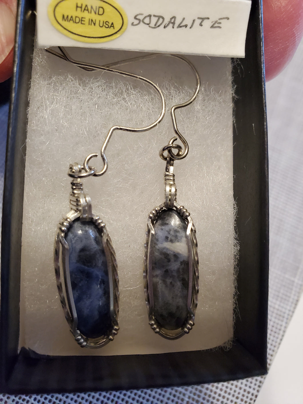 Custom Wire Wrapped Sodalite Earring Sterling Silver
