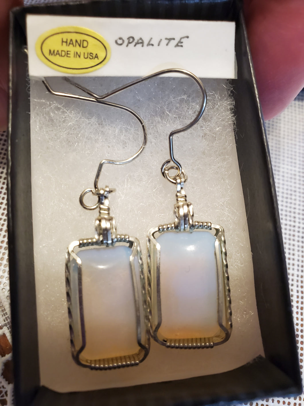Custom Wire Wrapped Opalite Earrings Sterling Silver