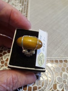 Custom Wire Wrapped Honey Tiger Eye Ring Sterling Silver 7 1/2