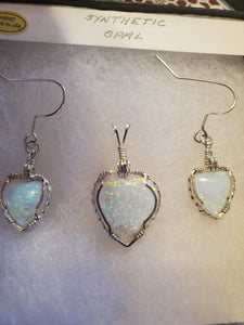 Custom Wire Wrapped Synthetic Opal Set Earrings, Necklace/Pendant Sterling Silver