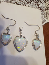 Load image into Gallery viewer, Custom Wire Wrapped Synthetic Opal Set Earrings, Necklace/Pendant Sterling Silver