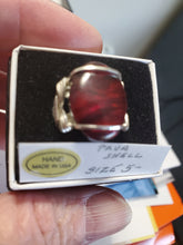Load image into Gallery viewer, Custom Wire Wrapped Red Paua Shell Ring Size 5 1/2 Sterling Silver