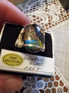 Custom Wire Wrapped Dichroic Glass Ring Sterling Silver Size 7 1/2