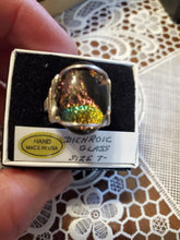 Load image into Gallery viewer, Custom Wire Wrapped Dichroic Glass Ring Sterling Silver Size 7 1/2