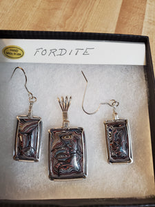 Custom Wire Wrapped Fordite Set Earring, Necklace/Pendant Sterling Silver