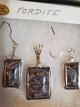 Load image into Gallery viewer, Custom Wire Wrapped Fordite Set Earring, Necklace/Pendant Sterling Silver