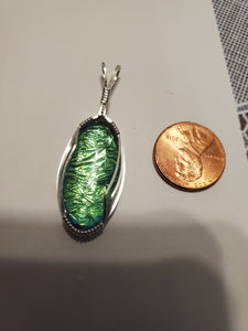 Custom Wire Wrapped Dichroic Glass Necklace/Pendant Sterling Silver