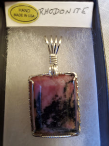 Custom Cut Polished Wire Wrapped Rhodonite Necklace/Pendant Sterling Silver
