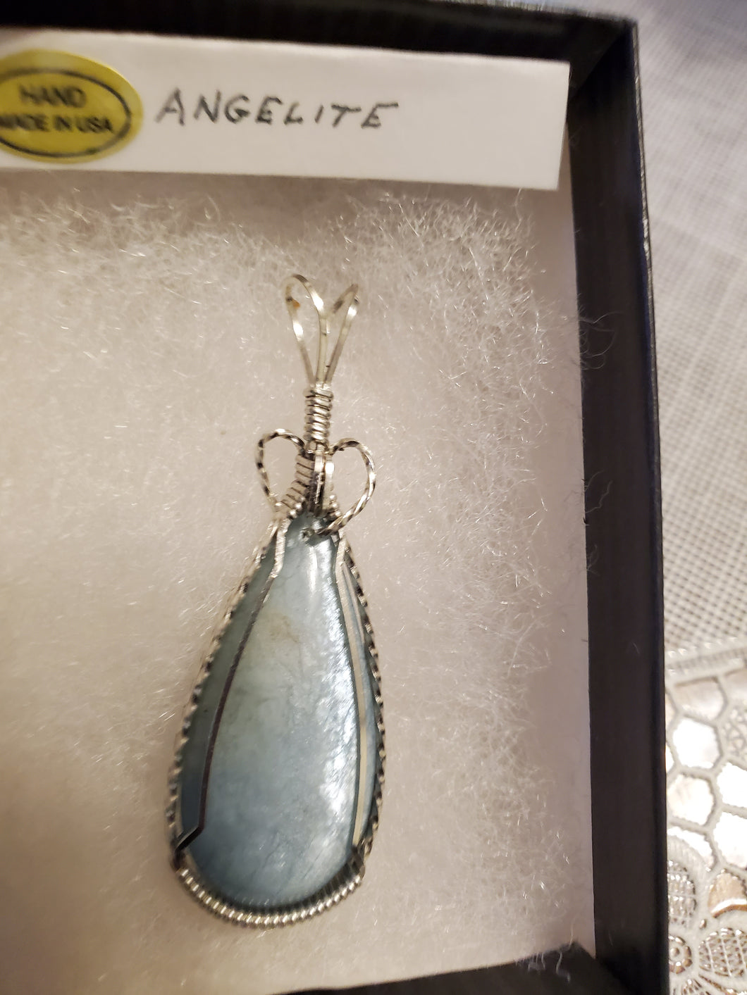Custom Wire Wrapped Double Sided Angelite Necklace/Pendant Sterling Silver