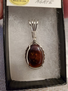 Custom Wire Wrapped Mexican Fire Agate Necklace/Pendant Sterling Silver