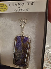 Load image into Gallery viewer, Custom Wire Wrapped Charoite & Copper Necklace/Pendant Sterling Silver