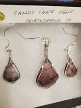 Load image into Gallery viewer, Custom Wire Wrapped Candy Cane Stone Set Earrings, Necklace/Pendant Sterling Silver