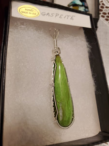 Custom Wire Wrapped Gaspeite Necklace/Pendant Sterling Silver