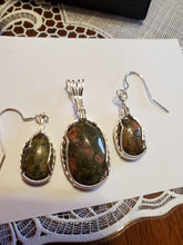 Load image into Gallery viewer, Custom Wire Wrapped Unakite Set, Earrings Necklace/Pendant Sterling Silver