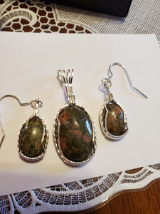Custom Wire Wrapped Unakite Set, Earrings Necklace/Pendant Sterling Silver
