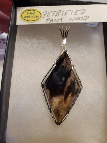 Custom Wire Wrapped Petrified Palm Wood Necklace/Pendant Sterling Silver