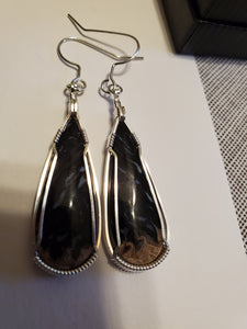 Custom Wire Wrapped Petrified Palm Wood Earrings Sterling Silver
