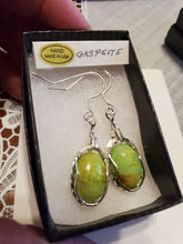 Load image into Gallery viewer, Custom Wire Wrapped Gaspeite Earrings Sterling Silver