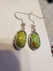 Custom Wire Wrapped Gaspeite Earrings Sterling Silver