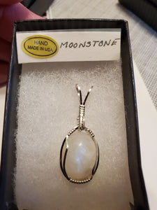 Custom Wire Wrapped Moonstone Necklace/Pendant Sterling Silver