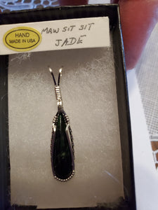 Custom Wire Wrapped Maw Sit Sit Jade Necklace/Pendant Sterling Silver