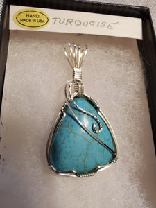 Custom Wire Wrapped Turquoise Necklace/Pendant Sterling Silver