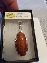 Load image into Gallery viewer, Custom Wire Wrapped Brown Goldstone Necklace/Pendant Sterling Silver