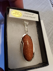 Custom Wire Wrapped Brown Goldstone Necklace/Pendant Sterling Silver