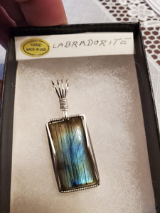 Custom Wire Wrapped Labradorite Necklace/Pendant in Sterling Silver